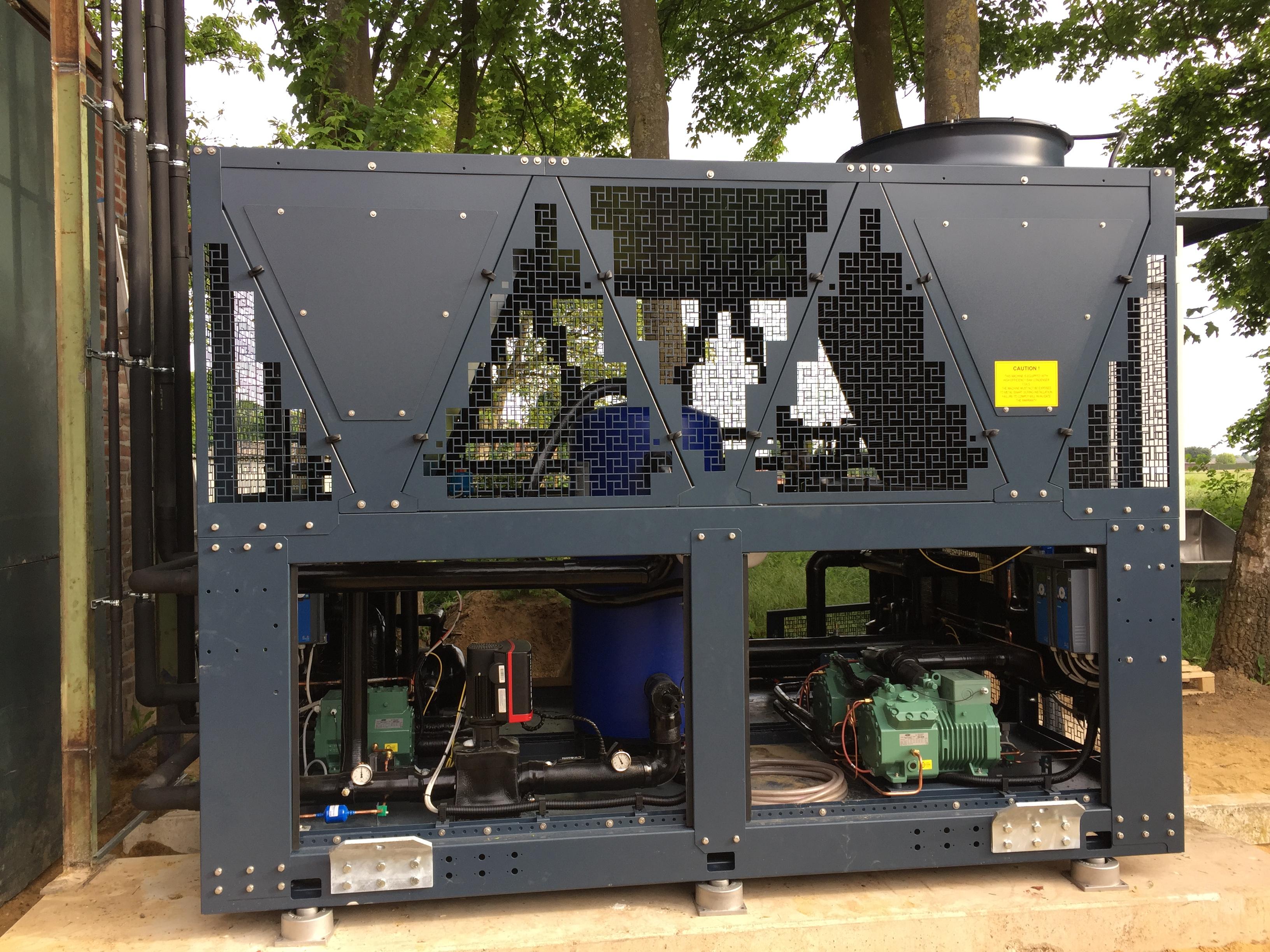 R 290 Kaltsoleerzeuger mit CO2 Tiefkühlstufe komplett Leistungsgeregelt mit Wärmerückgewinnung